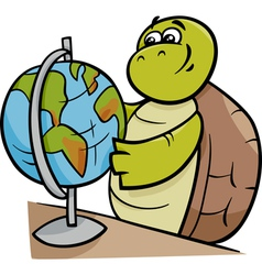 turtle with globe cartoon vector image