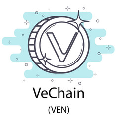 vechain outline coin vector image