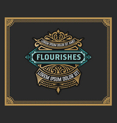 Vintage logo or banner layout with ornamental vector