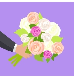 Wedding bouquet of pink white and green roses vector