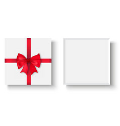 white gift box with red bow top view vector image