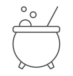 Witch cauldron thin line icon magic witchcraft vector