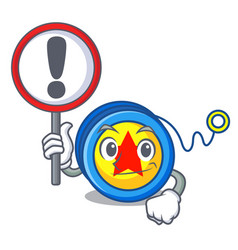 with sign yoyo character cartoon style vector image
