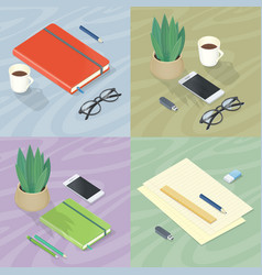 Workplace concepts set in isometric projection vector
