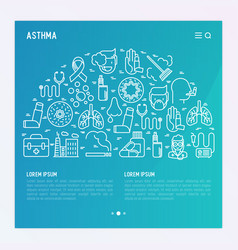 world asthma day concept with thin line icons vector image