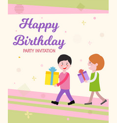 Written happy birthday party invitation vector