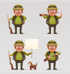 cute successful hunter dog cheerful weapon gun in vector image vector image