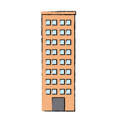 drawn building skyscraper residential structure vector image