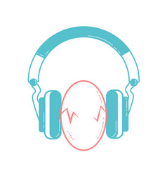 eggs between headphones vector image vector image