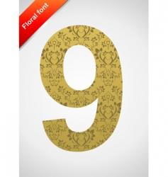 floral font ornament number vector image