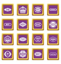 golden labels icons set purple vector image vector image