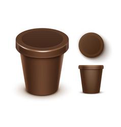 set of plastic tub for chocolate dessert yogurt vector image vector image