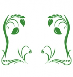green abstract ornament with leaf vector image