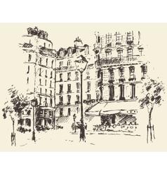 Streets Paris France vintage drawn vector image vector image