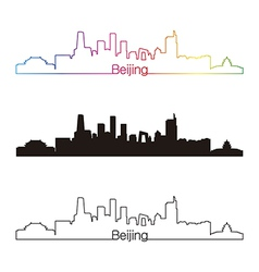 Beijing skyline linear style with rainbow vector image