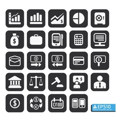 Finance and business icon set in black color vector image vector image