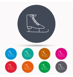 Ice skates icon Figure skating equipment sign vector image