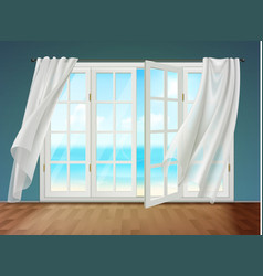 open window with fluttering curtains vector image