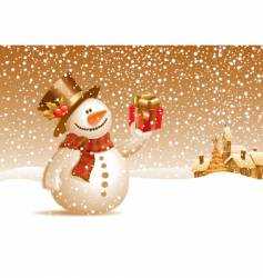 snowman with gift for you vector image vector image