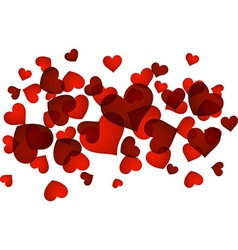 Valentines background with red hearts vector image