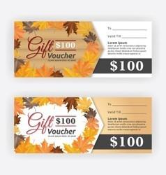 Autumn gift voucher certificate vector image