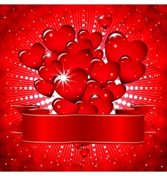 Beautiful background with glowing hearts and a vector image vector image