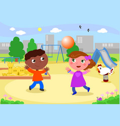 smiling kids playing at the playground vector image vector image