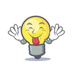 tongue out light bulb character cartoon vector image