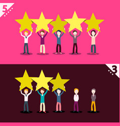 3 and 5 rating stars with people holding them vector image