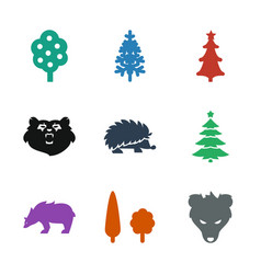 9 forest icons vector