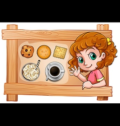 A frame with a young girl with drinks and biscuits vector image