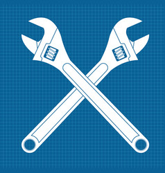 adjustable wrench crossed white icons on vector image