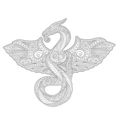 adult coloring book art with snake and wings vector image