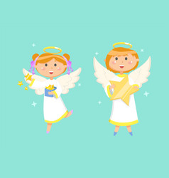 angels kids angelic children on christmas holiday vector image