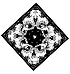 Bandana with skull hand drawing vector