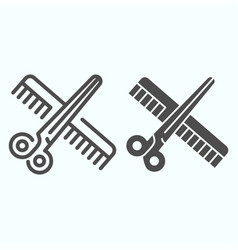Barber instruments line and solid icon scissors vector
