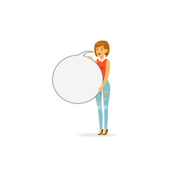 beautiful woman character with empty round message vector image
