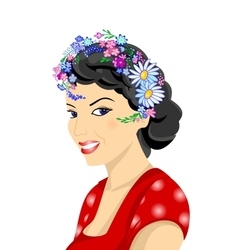 Beautiful woman with wreath vector image