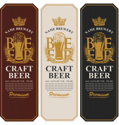 beer labels with full beer glass and wheat ears vector image
