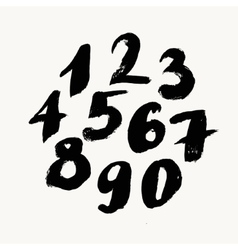 Black brush painted numbers vector image