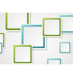 Bright green and blue geometric squares design vector