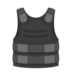 Bulletproof vest icon in monochrome style isolated vector