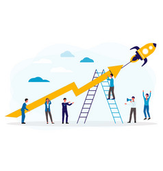 business boost or startup with people and rocket vector image
