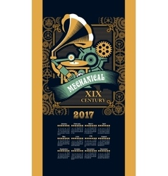 Calendar 2017 steam punk vector image