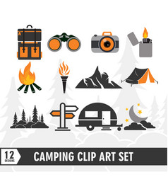 camping clip art icon set design template vector image