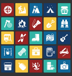 camping icons set on color squares background for vector image