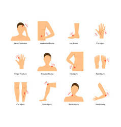 cartoon color pain human body set vector image