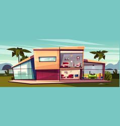 Cartoon cottage detached house cross vector