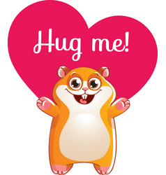 cartoon hamster ready for a hugging vector image