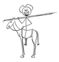 Cartoon knight on horse - don quijote vector